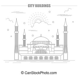 City buildings graphic template. St Sofia Mosque. Vector...