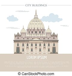 City buildings graphic template. Saint Pyotr Cathedral....