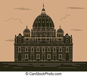 City buildings graphic template Saint Pyotr Cathedral Vector...