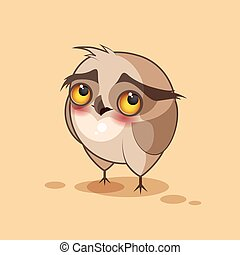 Owl is confused - Isolated Emoji character cartoon owl...