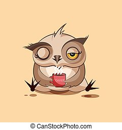 Owl Good morning - Isolated Emoji character cartoon owl just...