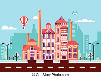 beer factory 2 - Illustration city street with Stone...