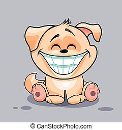 Dog with huge smile - Isolated Emoji character cartoon dog...