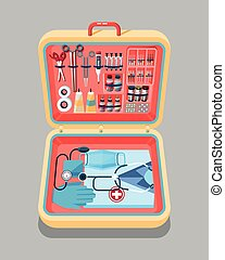 Medical suitcase isometrics - Illustration of medical...