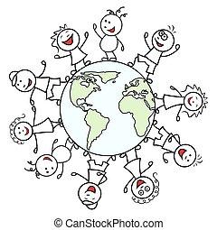 Happy people around the globe