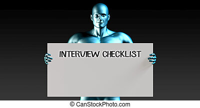 Interview Checklist with a Man Carrying Reminder Sign