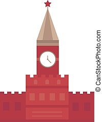 Spasskaya tower in Moscow, Russia flat design Kremlin vector...
