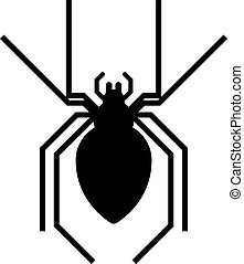 Black spider insect danger silhouette vector icon - Spider...