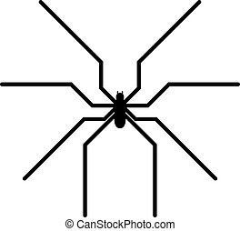 Black spider insect danger silhouette icon - Spider black...
