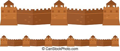 Great Chinese Wall old architecture famous attributes. -...