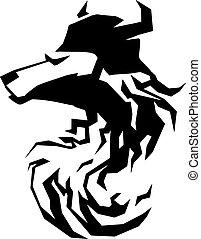 Lobo, cabeça, tribal, arte, tatuagem, emblem., ,
