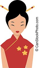 Beautiful Chinese girl in traditional cheongsam red dress...