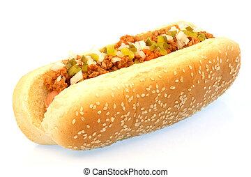 chili hot dog - hot dog against white background with chili...
