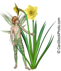 Daffodil Fairy Boy - Fantasy illustration of a fairy boy...