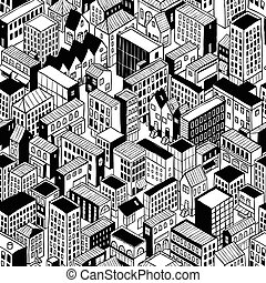 City Seamless Pattern Isometric - Small