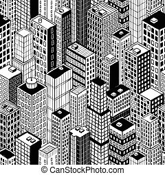 Skyscraper City Seamless Pattern - small