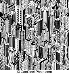 Skyscraper City Seamless Pattern - large
