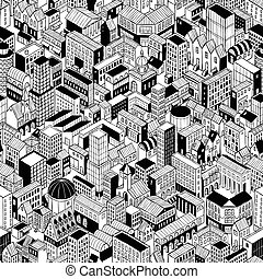 City Seamless Pattern Isometric - Large