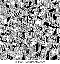 City Seamless Pattern Isometric - Medium