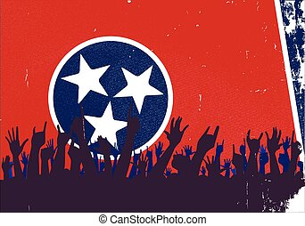 Tennessee State Flag with Audience