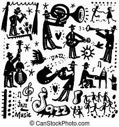 jazz band cartoons - jazz band , music party - set icons in...
