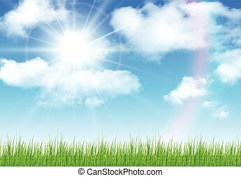 Sunny sky background - Sunny sky with vector clouds, natural...