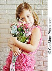 niña, flores