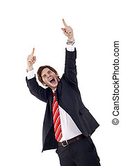 happy businessman - One very happy energetic businessman...