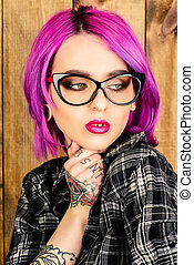 eyewear - Cool girl with bright crimson hair and tattoo on...