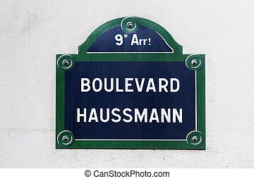 Boulevard Haussmann street sign in Paris, France