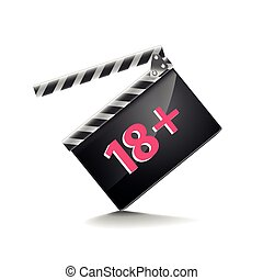 Clapper board adults only isolated on white vector - Clapper...