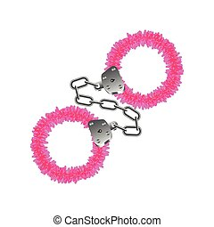 Pink handcuffs isolated on white vector - Pink handcuffs...