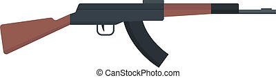 Submachine gun icon kalashnikov or AK-47 color silhouette...