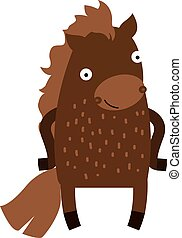 Cute cartoon horse farm animal mammal character clip art vector.