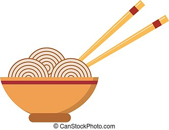 Chow Mein: fried noodles with chicken and vegetables chinese food vector.