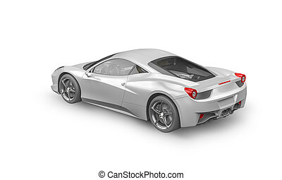 Super sport car on white background, 3D illustration
