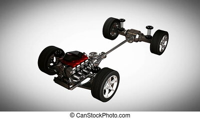 isolated car chassis with engine alpha matted