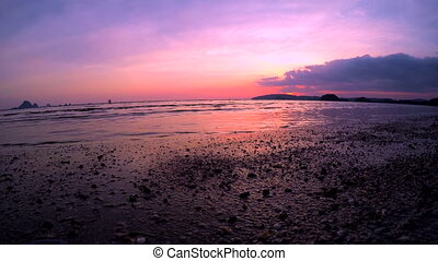 Sea Ebb at Sunset. Low Tide