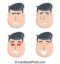 Set of male faces with emotions.