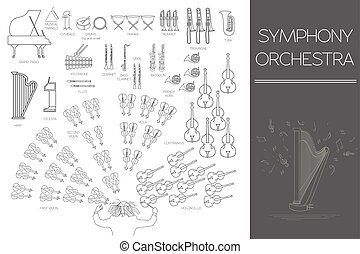 Musical instruments graphic template. All types of musical...