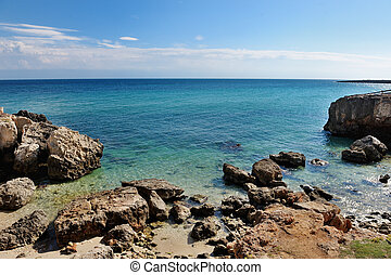 sea of Monopoli in summer, Apulia, Southern Italy - holiday...