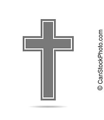 Black Christian Cross - Cross icon - flat image. Simple...