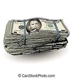 A fat stack of 5 dollar bills