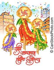Gudi Padwa - illustration of Gudi Padwa Lunar New Year...