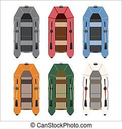 inflatable boats for fishing, hunti - set of rubber boats in...