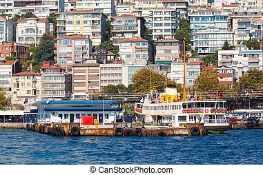 Traditional Istanbul passenger ferry near the pier on the...