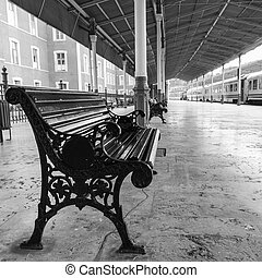 bench on Sirkeci railway station near center of Istanbul,...