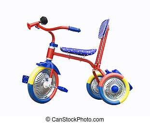 Tricycle on white background - Colour tricycle is insulated...