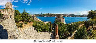 Rumelihisari fortress on a background of blue sky in...