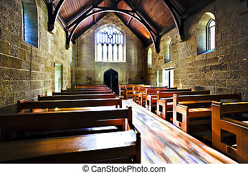 Old looking church room illuminated with sunlight - Old...